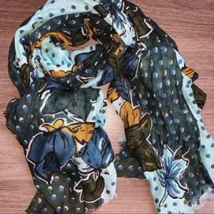 Accessories - Floral Polka Dot Rectangle Scarf Green Blue